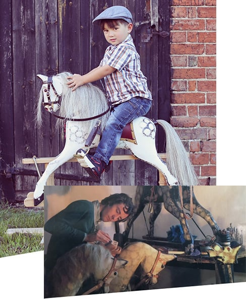A young boy riding a rocking horse, and James Hignett painting a rocking horse