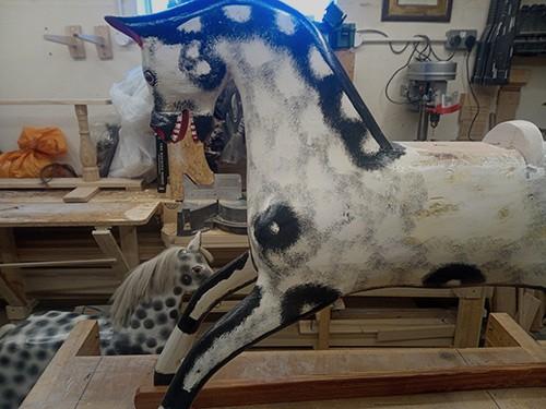 Rocking horse under restoration